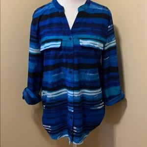 NY Collection Button-Down Blouse - Size Large